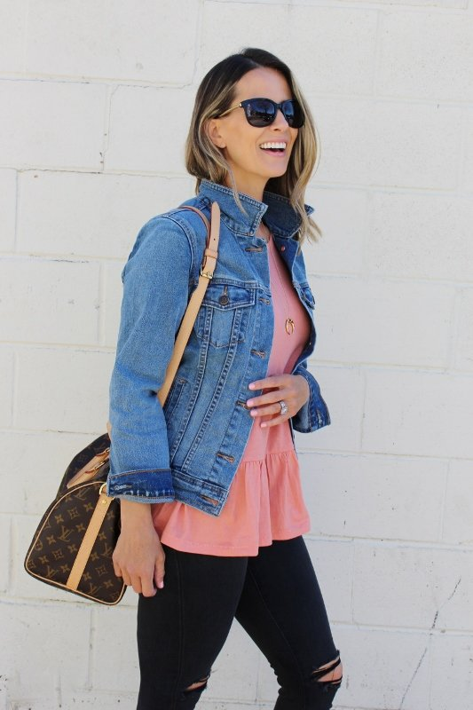 The Perfect Denim Jacket   A Peplum Tee (Each Under $40!) - my ...