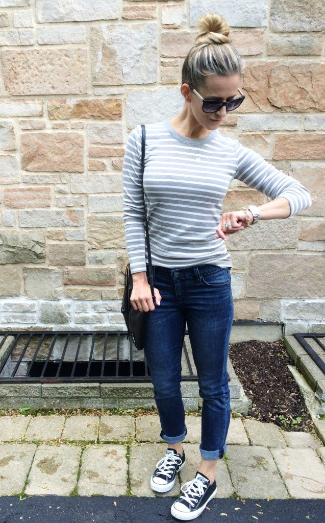 Easy mama style: striped tee, denim, crossbody, and Converse