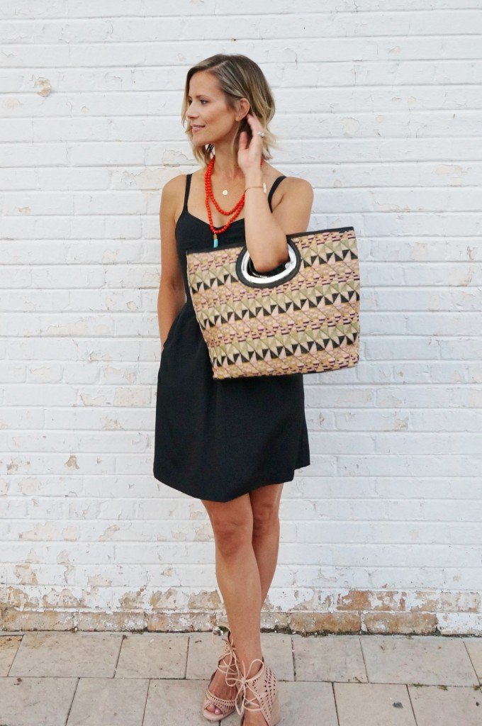 Little black dress, wrap up heels, tote, and statement jewelry