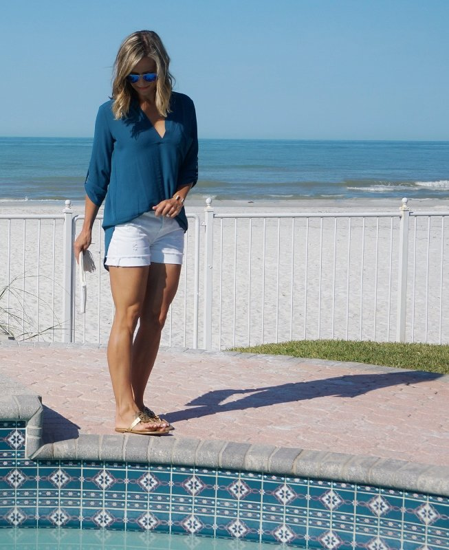 Summer style: blue top and white denim shorts