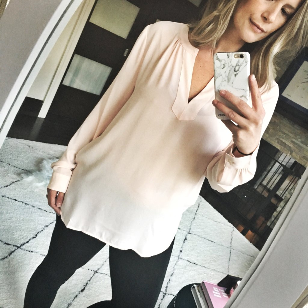 Spring style: blush top, leggings