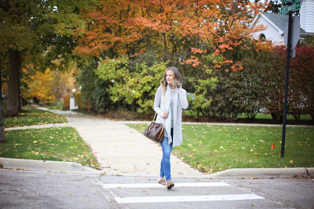 Thanksgiving outfit, striped tee, cardigan, denim, mules, and Louis Vuitton bag