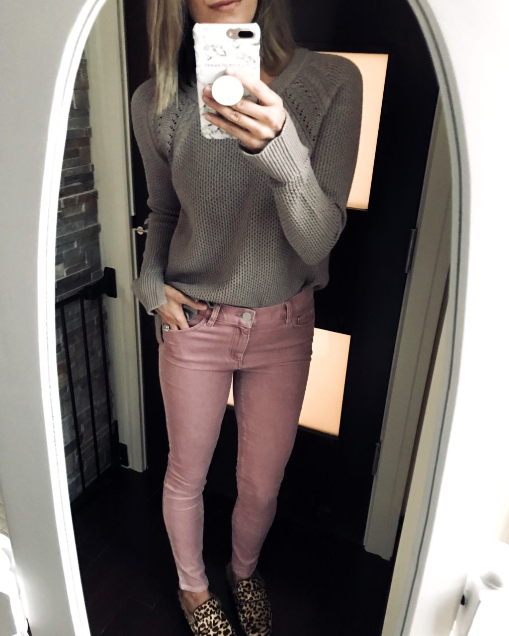 #ootd grey sweater, pink jeans, and leopard mules