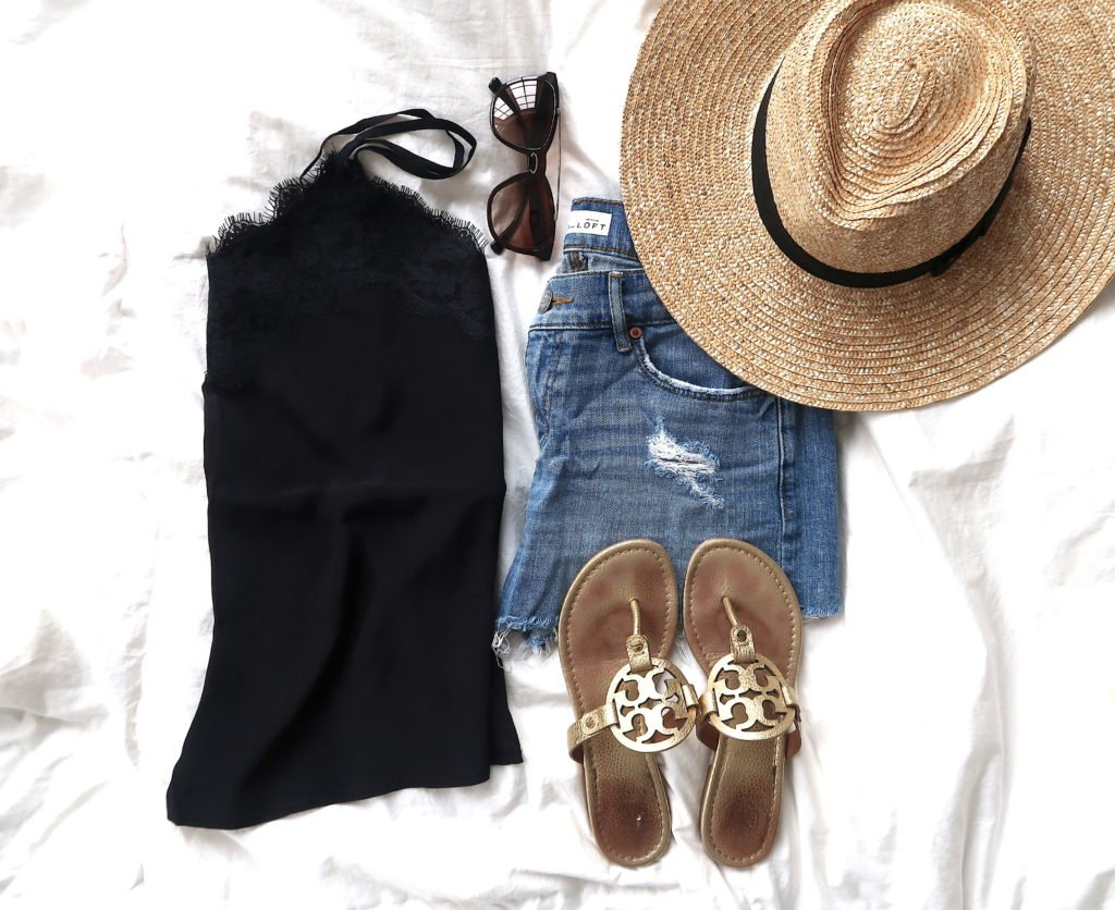 What's In My Suitcase: Beach Vacation, lace cami, denim shorts, straw hat, and sunglasses