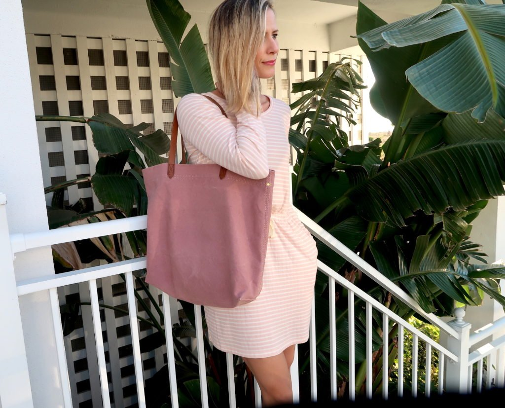 Beach vacation style, striped dress, pink tote