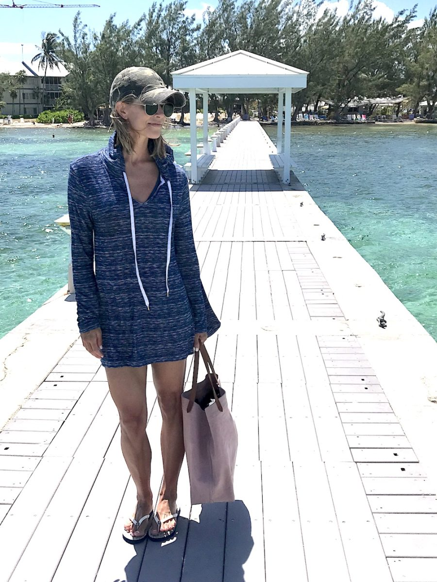 Swim cover up, flip flops, and tote