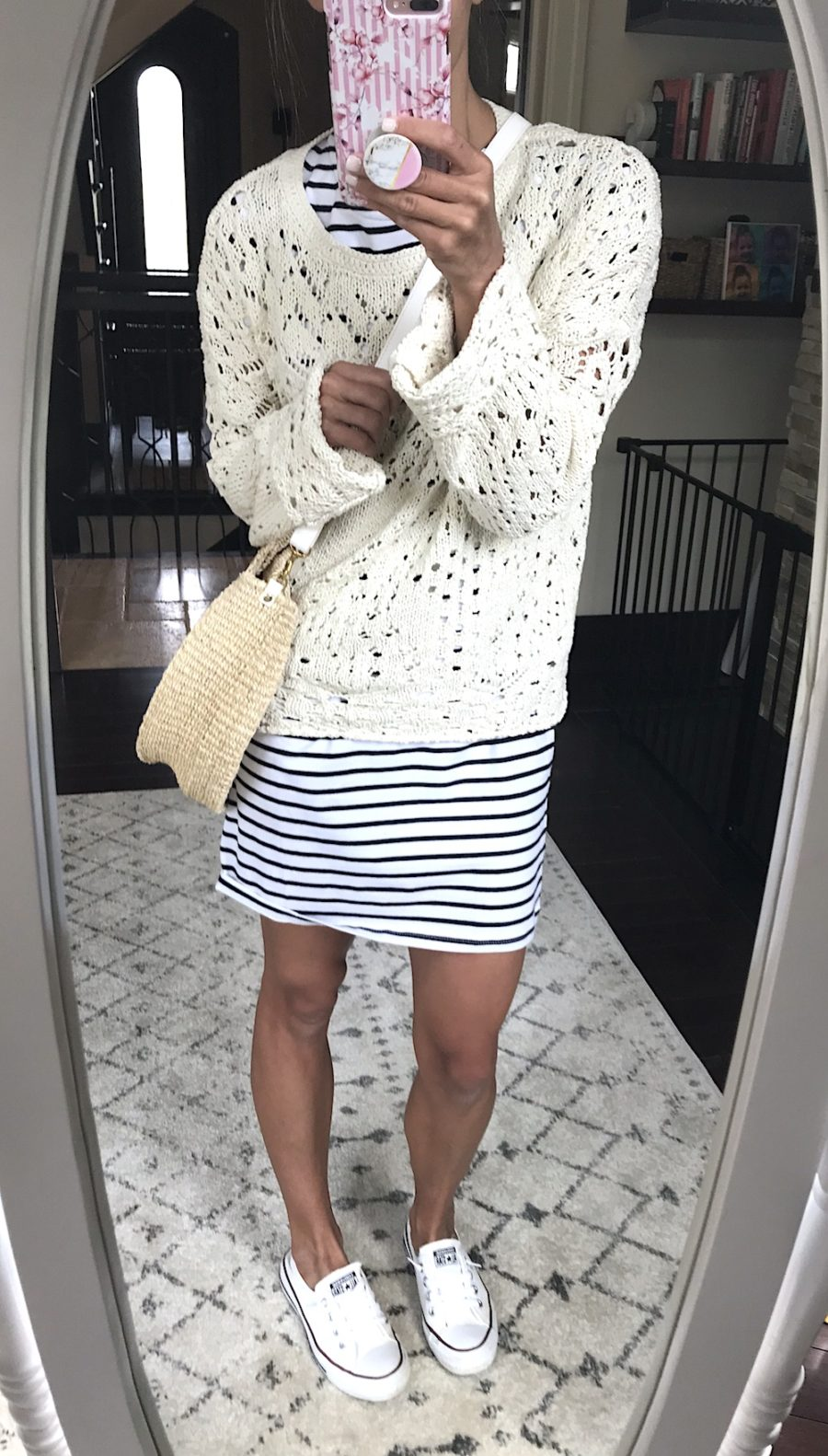 Outfit remix, stripe dress, sweater, sneakers