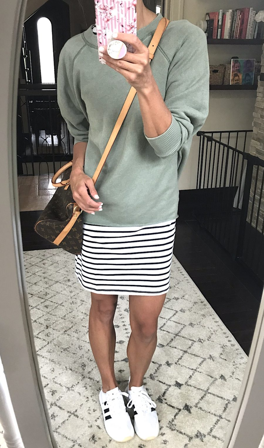 Outfit remix, stripe dress, pullover, sneakers