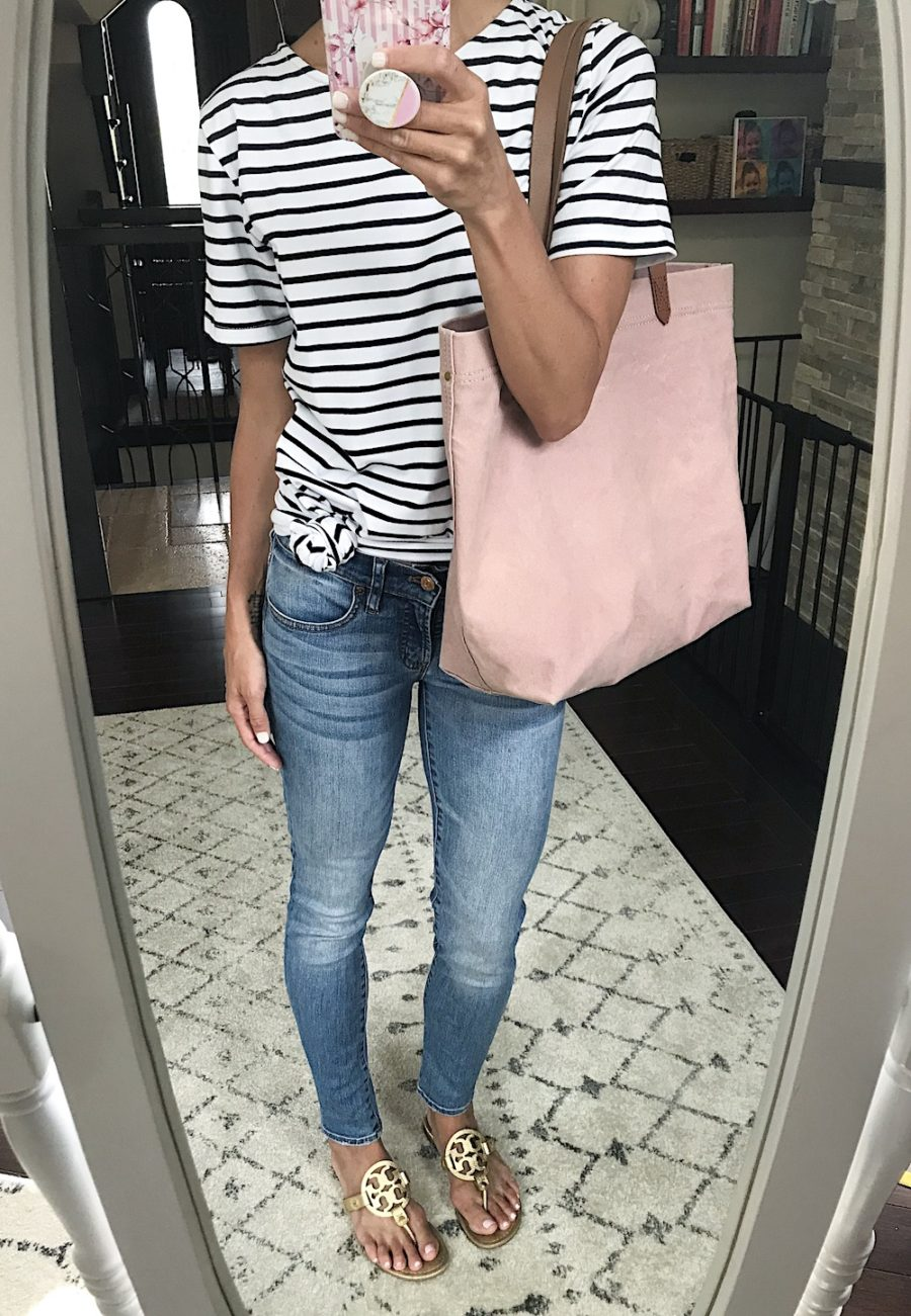 Outfit remix, stripe dress, jeans, tote