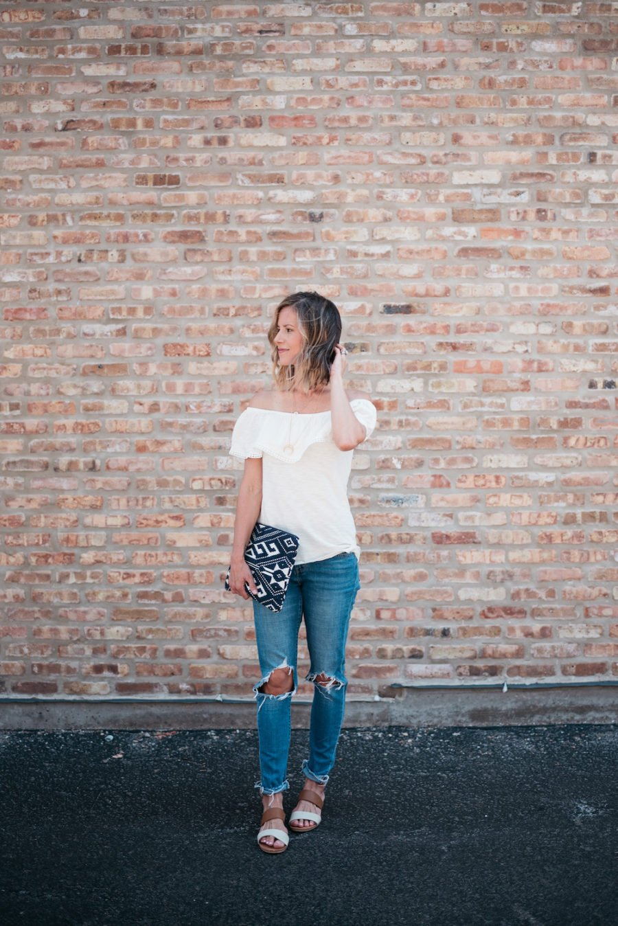 Off the shoulder top, denim, sandals, clutch