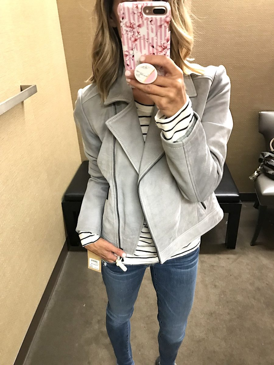 Casual try on, Suede jacket, striped tee, jeans