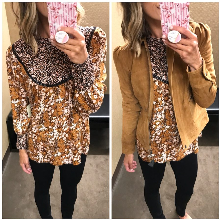 Floral top and suede jacket, casual try on