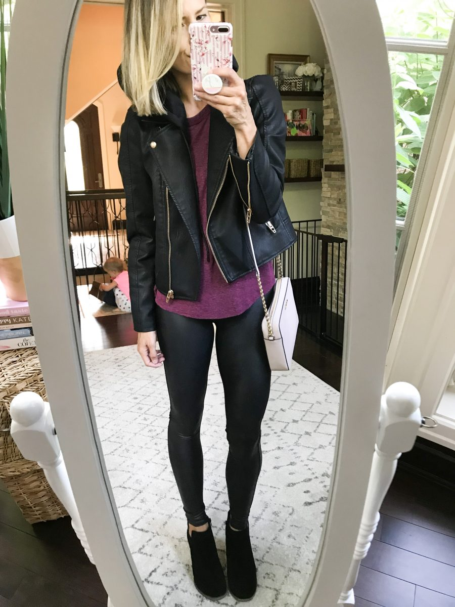 Fall outfits--faux leather Spanx leggings, moto jacket