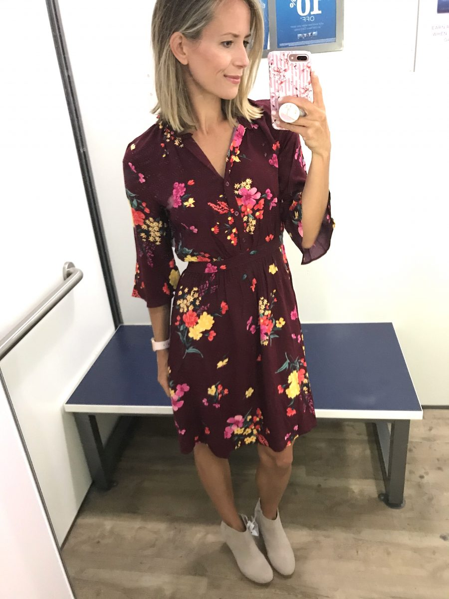 Fall try-on, floral dress and booties