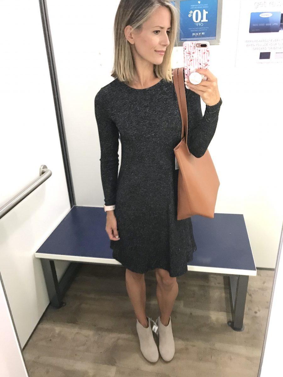 Fall try-on, swing dress, booties, tote