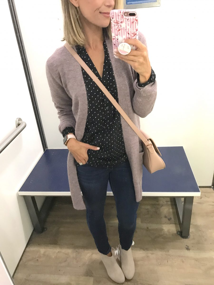 Fall try-on haul, cardigan, polka dot blouse, denim, booties, cross body