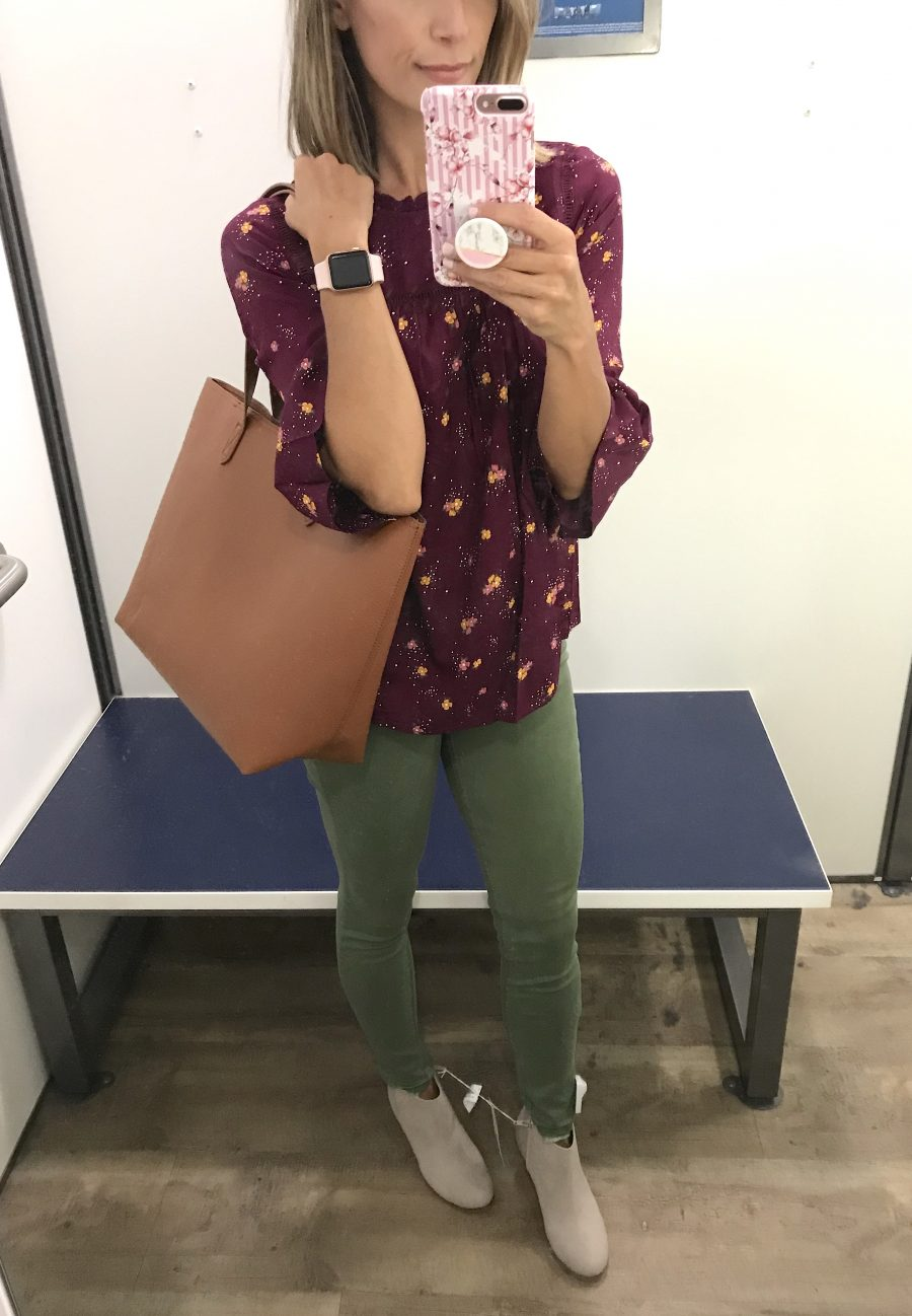 Fall try-on floral ruffle top, olive denim, booties, tote