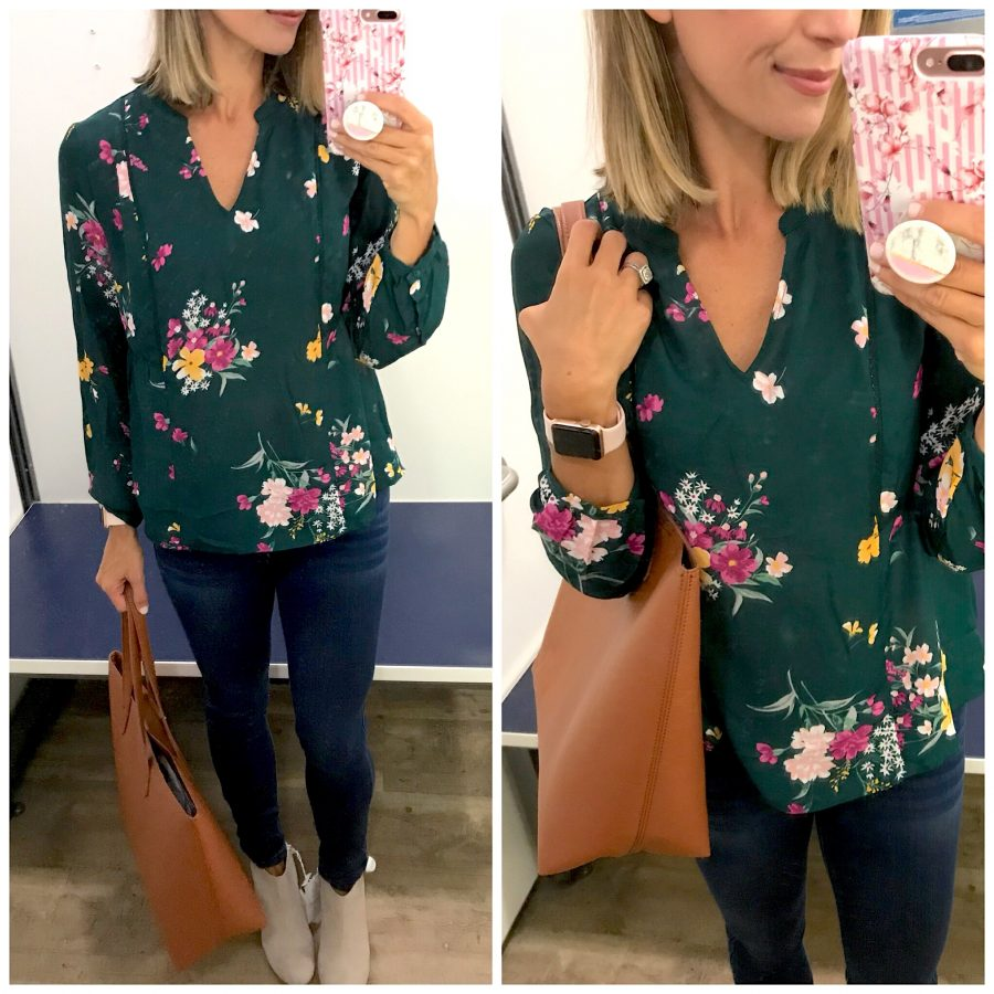 Fall try-on floral blouse, denim, booties, tote