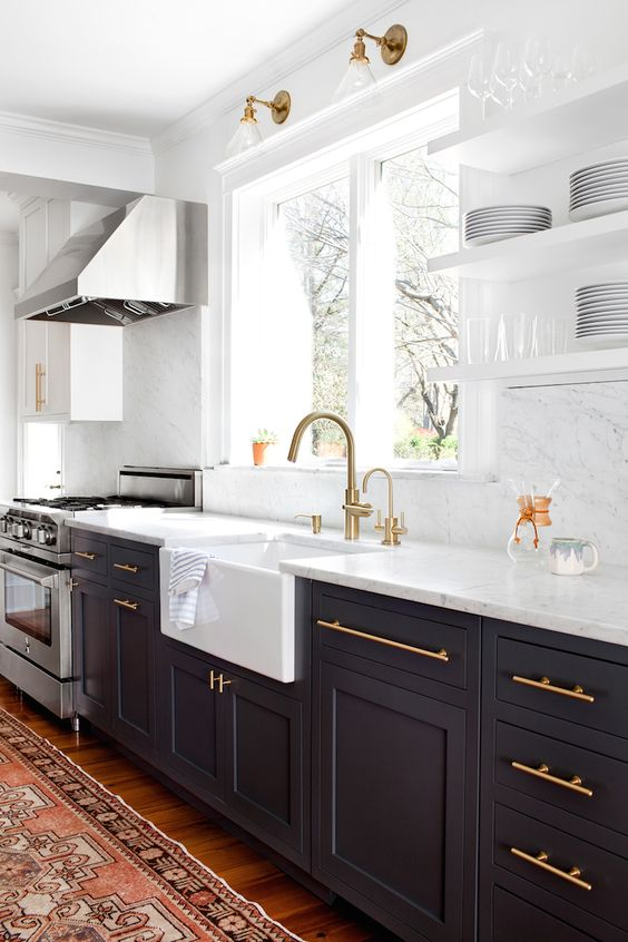 Kitchen remodel inspiration, white and black cabinets