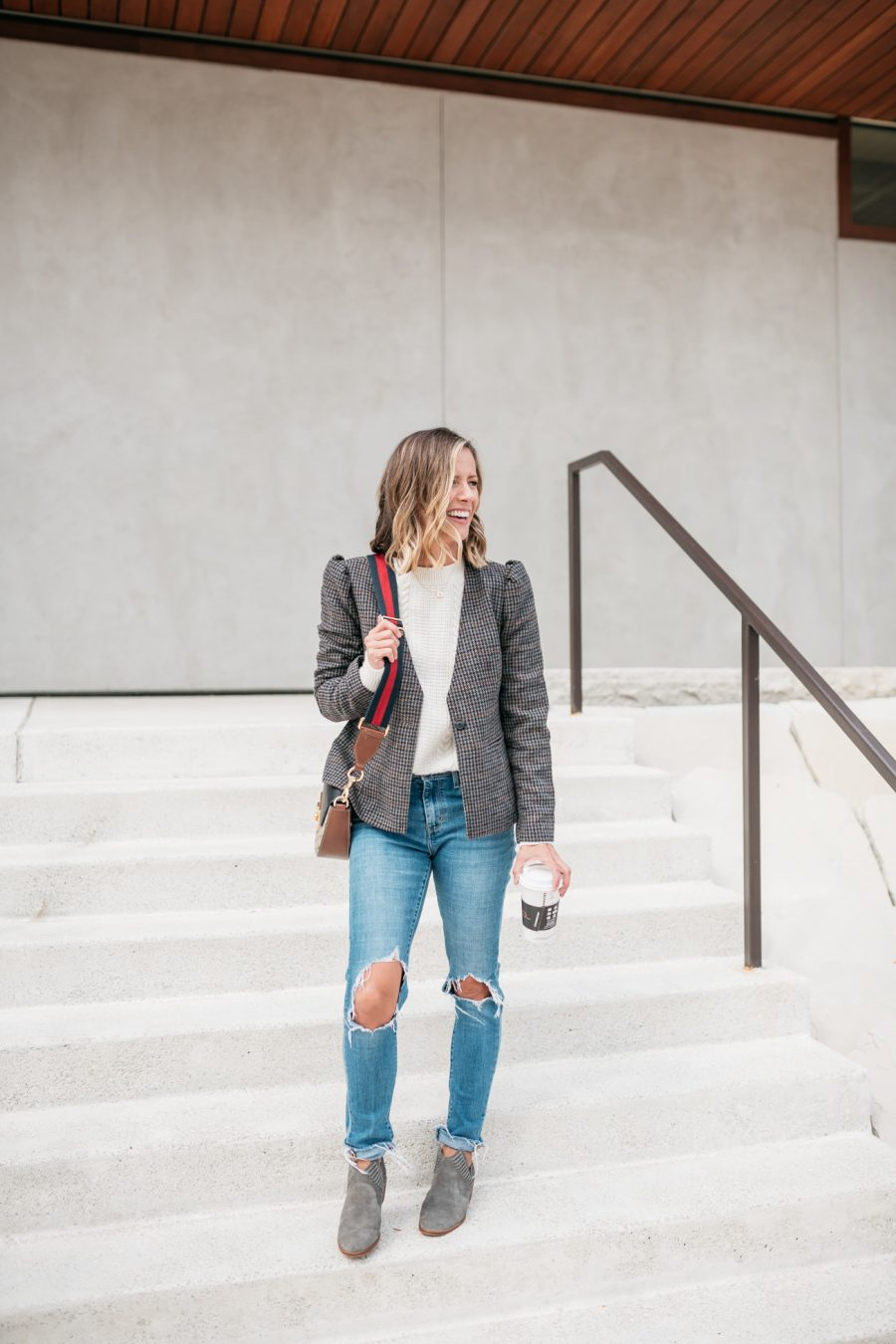Fall style, plaid blazer, sweater, mom jeans, and booties