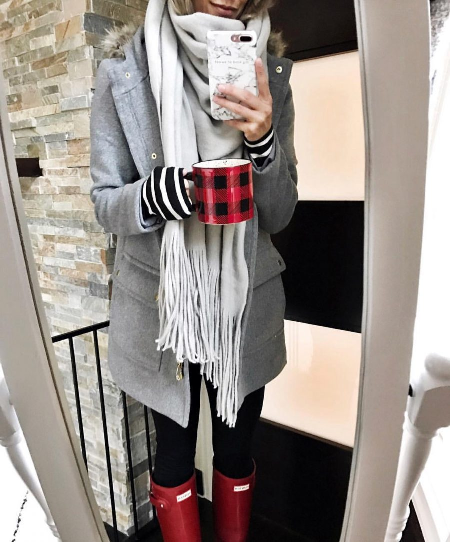 Parka, scarf, tee, leggings, and Hunter boots