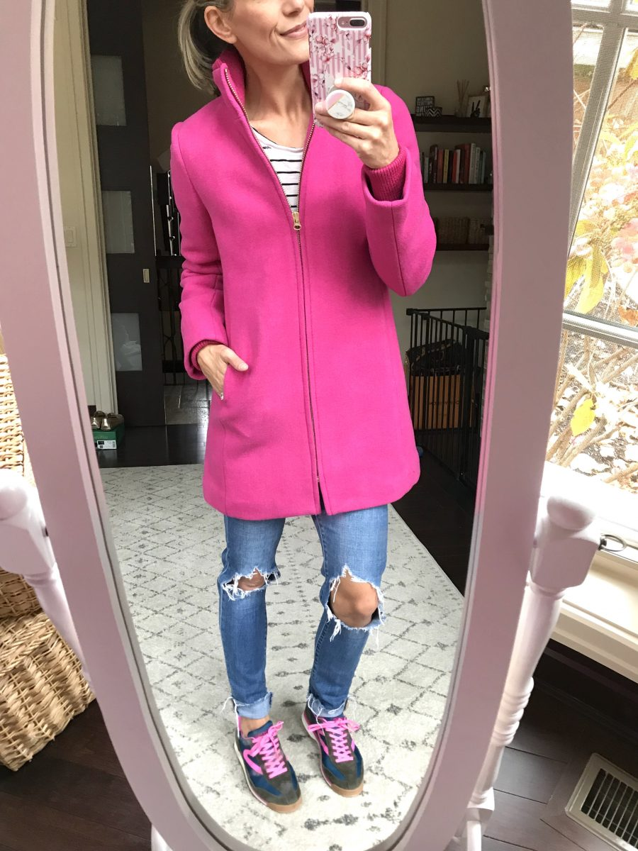 Coat, jeans, and sneakers