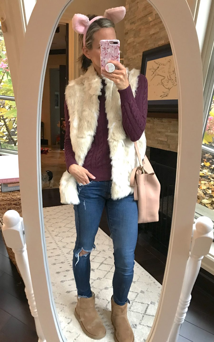 Fur vest, cable knit sweater, Uggs, madewell tote