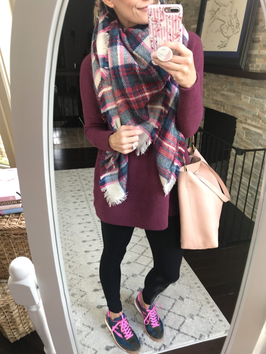 Blanket scarf, tunic, leggings, sneakers, and Madewell tote