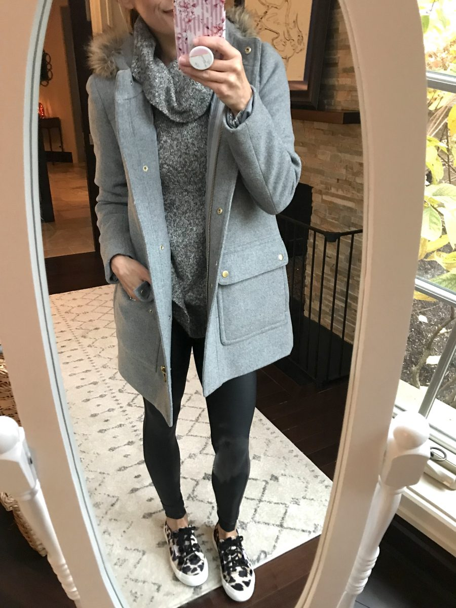 Parka, poncho sweater, Spanx leather leggings, sneakers