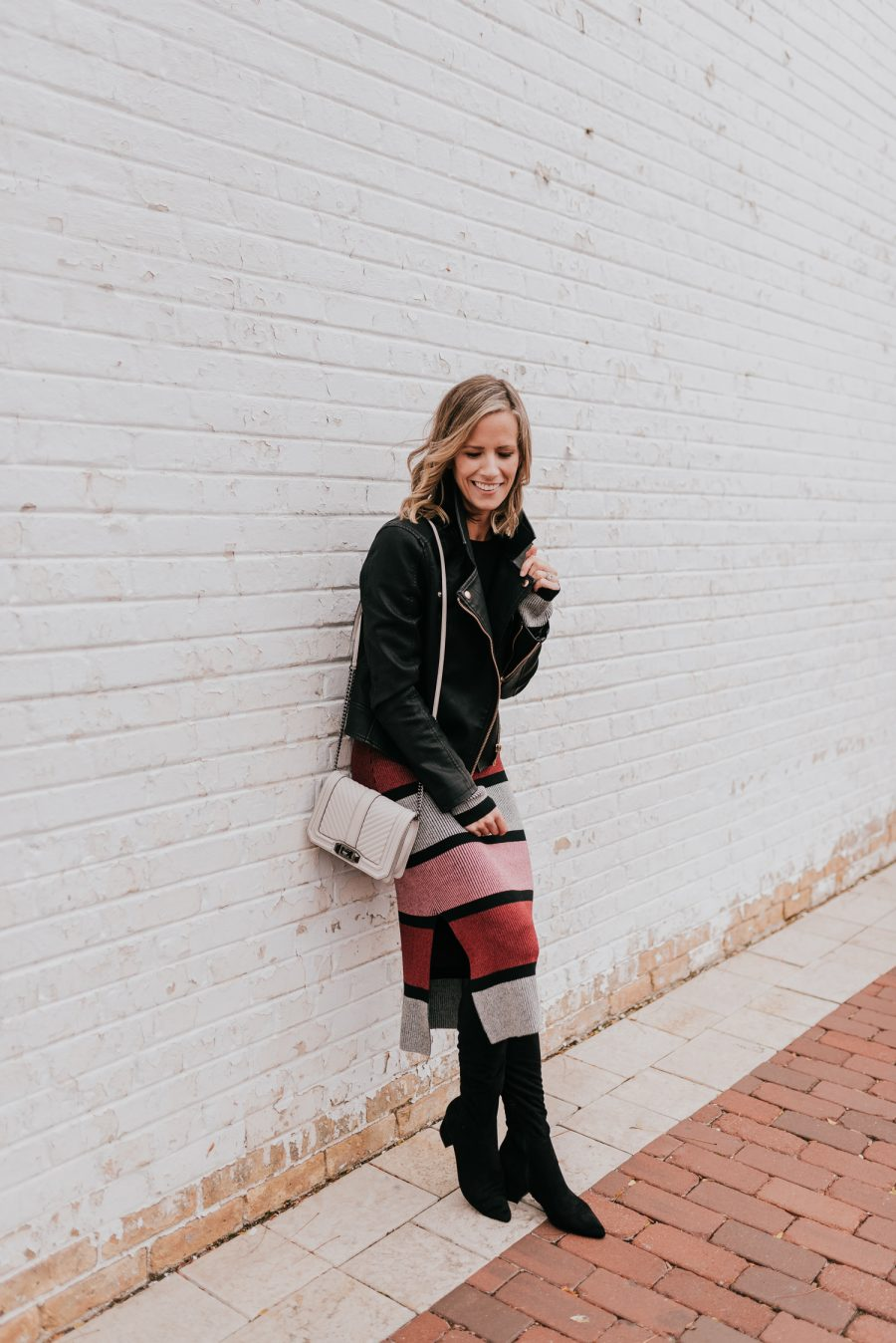 Favorite looks of 2018, sweater dress, moto jacket, and boots