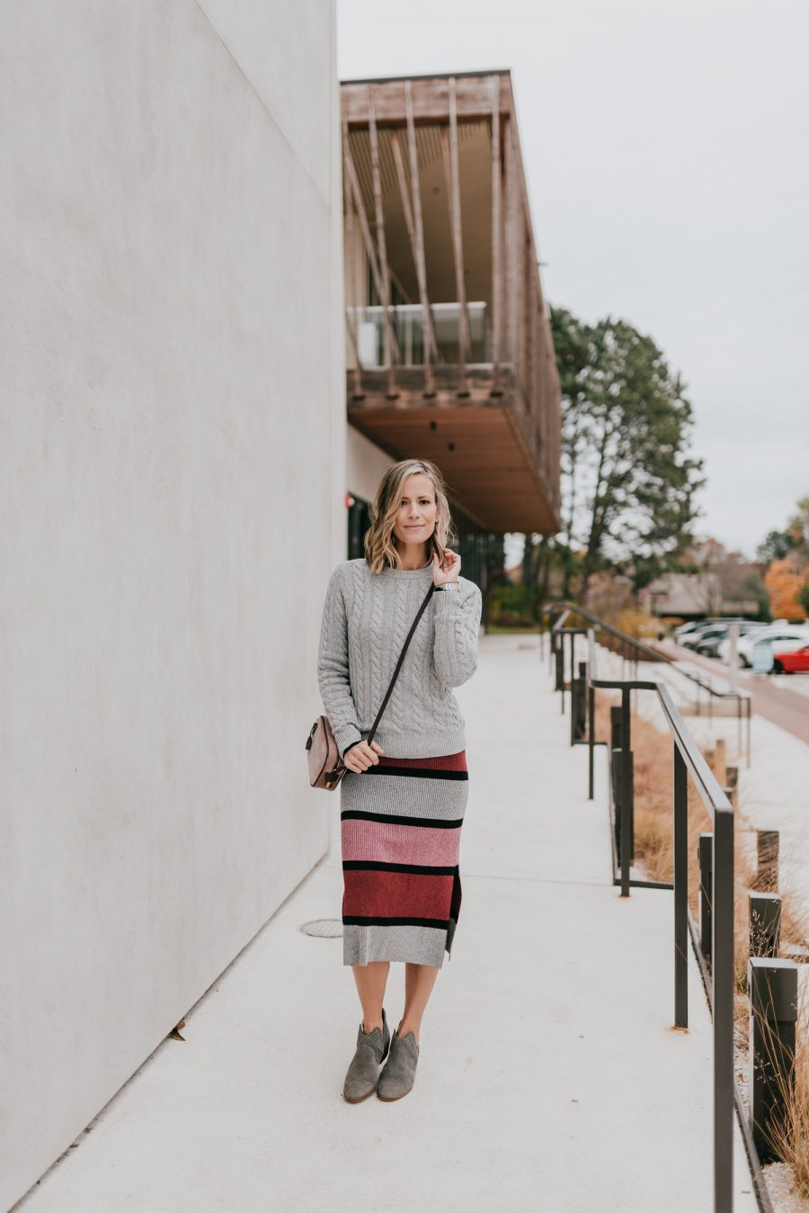 Thanksgiving outfit ideas--Sweater midi dress layered with a sweater and booties