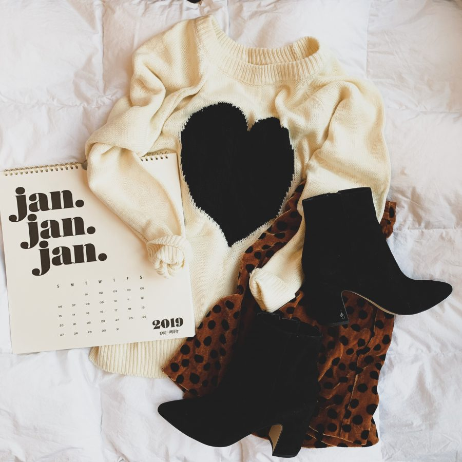 Heart sweater,  leopard skirt, and booties