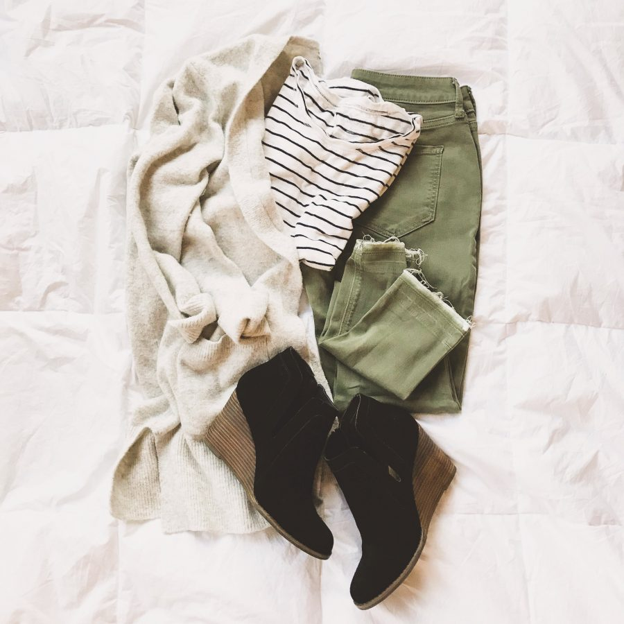 Instagram round up, Madewell cardigan, olive pants, and booties