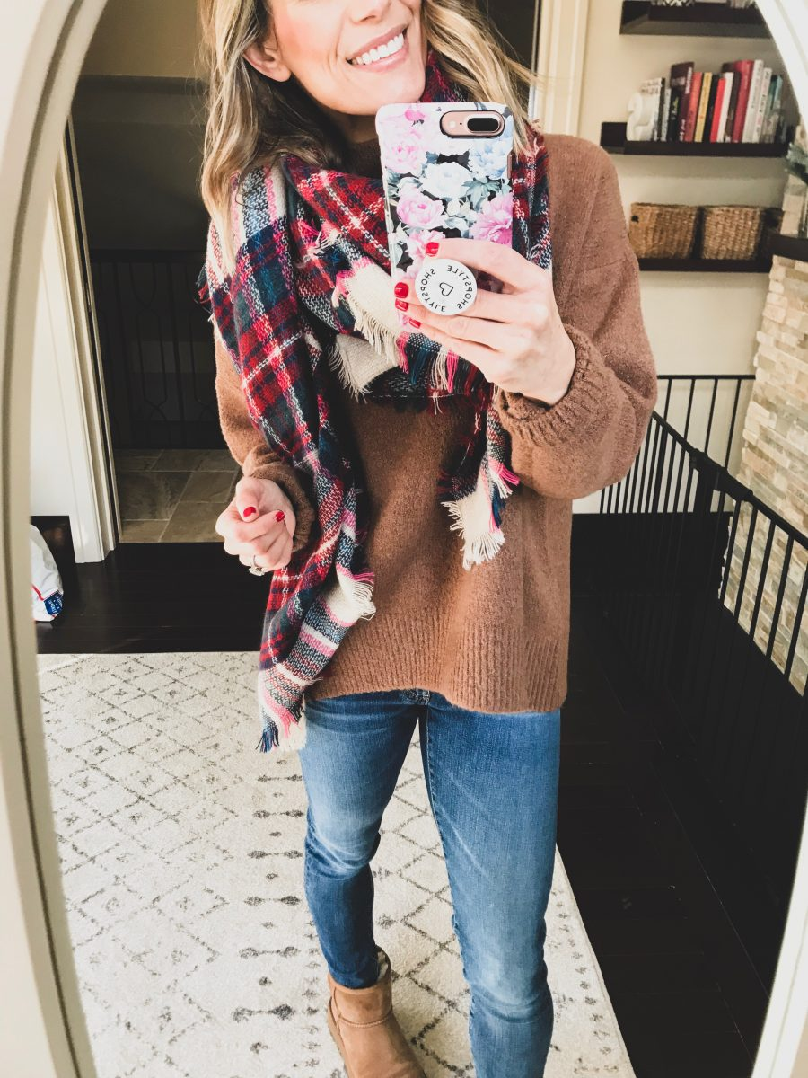 Blanket scarf, slouchy sweater, denim, and Uggs