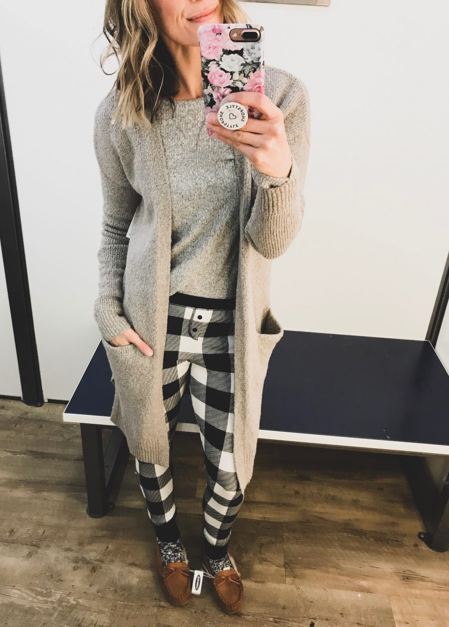 Instagram round up, cardigan, fleece tee, plaid pants, and slippers