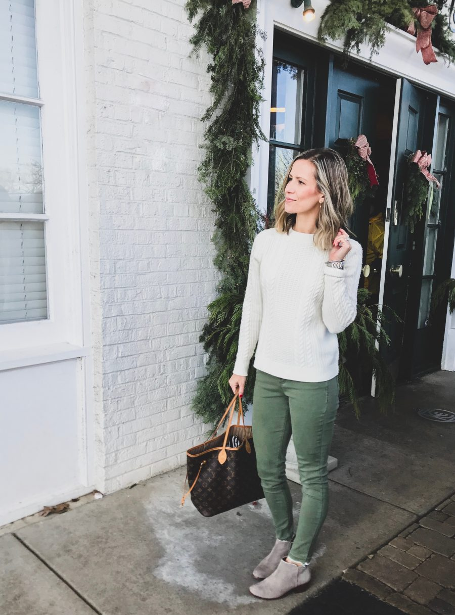Instagram round up, fisherman's sweater, olive pants, booties, and tote