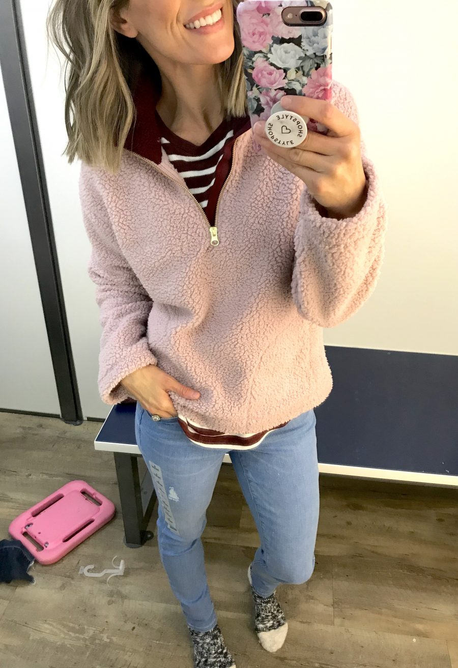 Old Navy winter try on haul, sherpa pullover