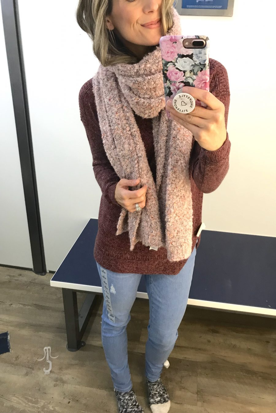 Boatneck tunic sweater, scarf, and denim