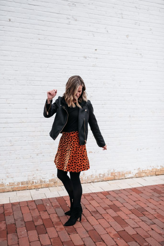 Winter outfit ideas--leather jacket, skirt and tights