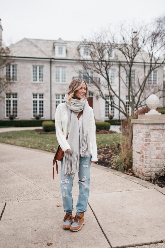 Sweater, scarf, booties and boyfriend jeans