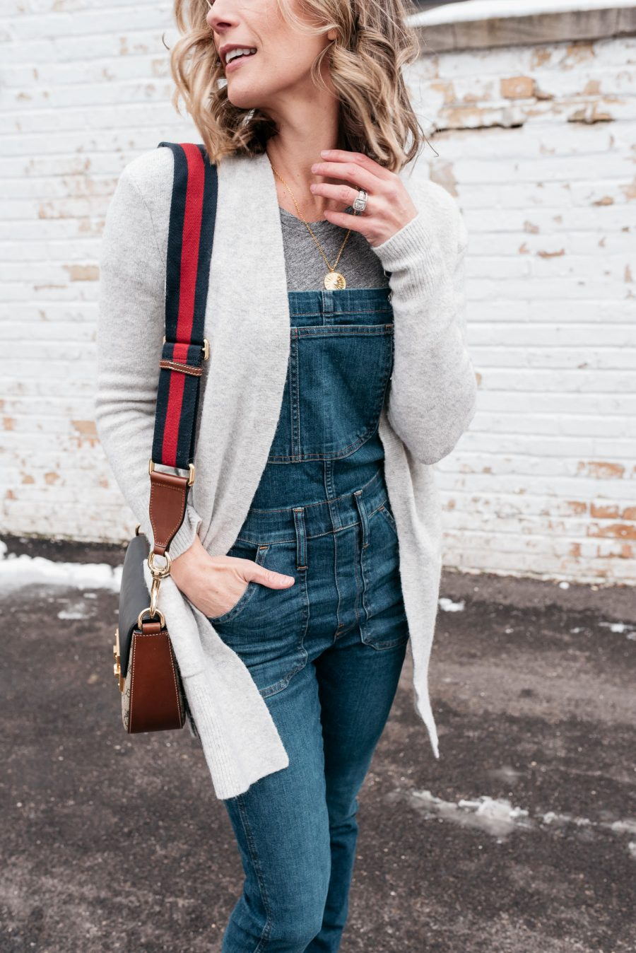 Overalls, cardigan, cross body bag, sneakers, and Palm coin necklace