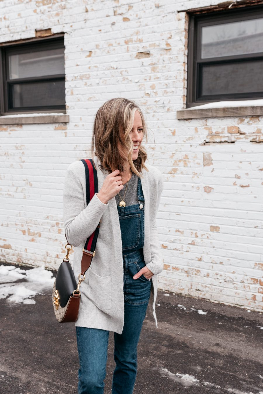 Overalls, cardigan, cross body bag