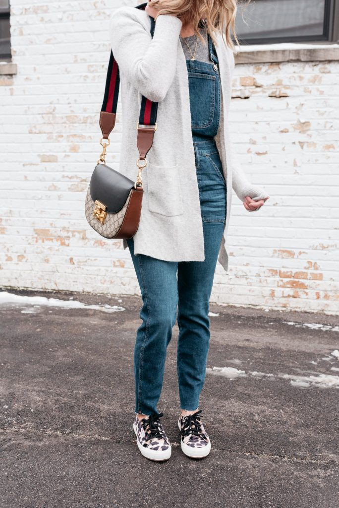 Overalls and Barefoot dreams cardigan