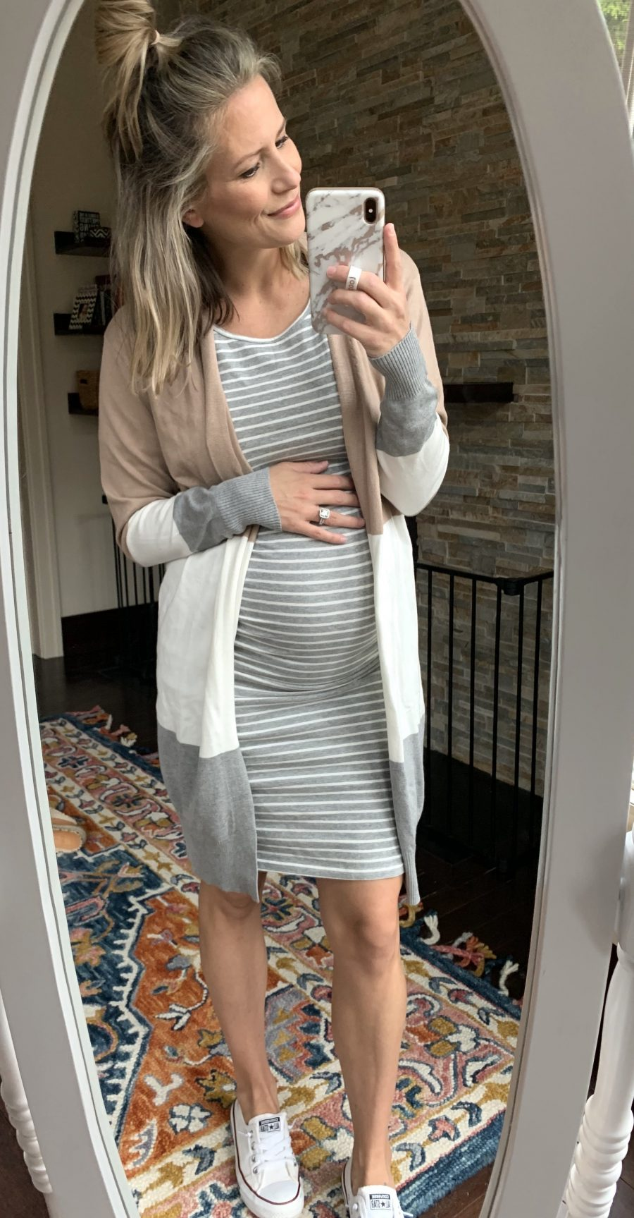 Striped maternity dress and color block cardigan