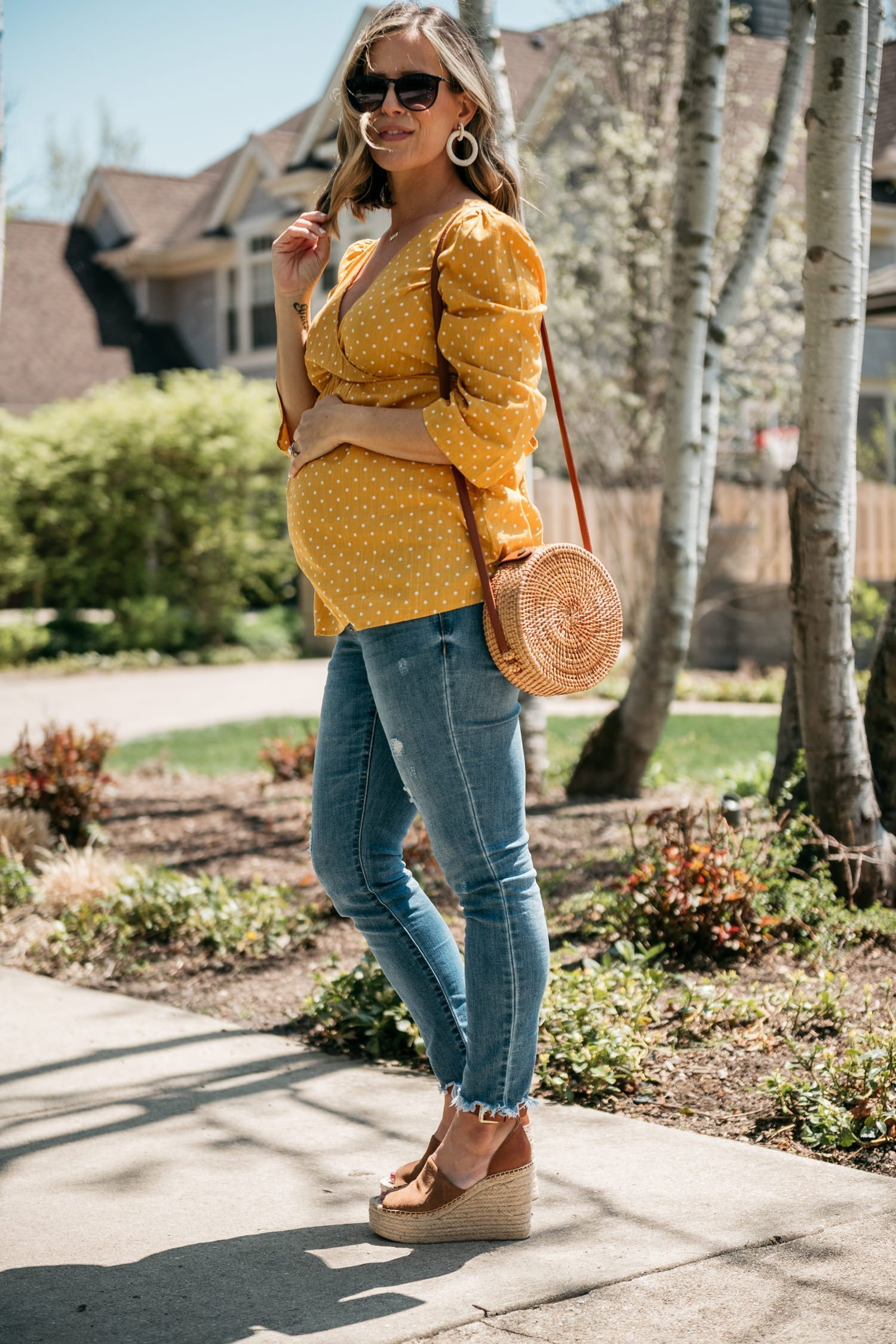 The perfect yellow maternity top, jeans, and espadrille wedges