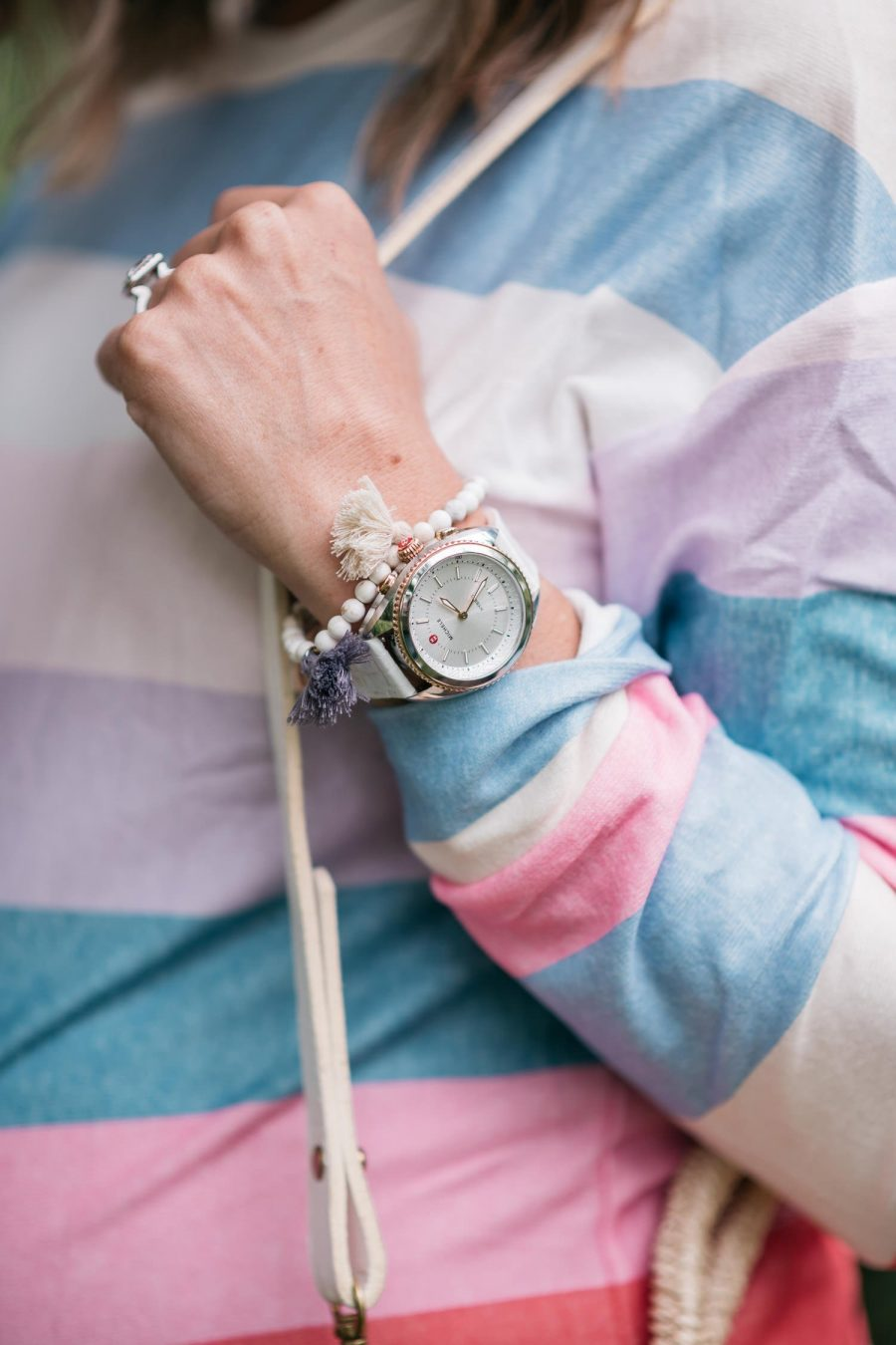 Best sellers of June, striped tee and watch