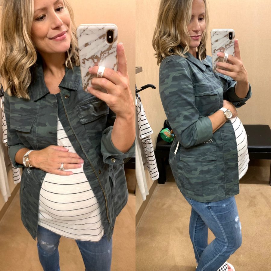 Try on haul, striped tee and camo utility jacket