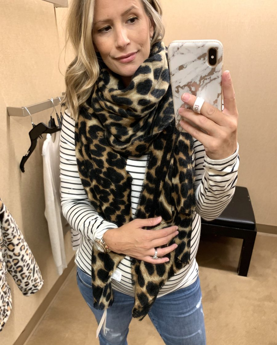 Try on haul, striped top and blanket scarf