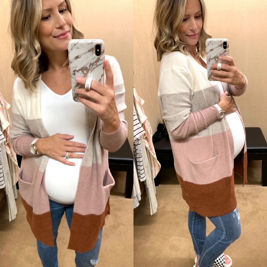 Try on haul, Madewell colorblock cardigan and seamless cami
