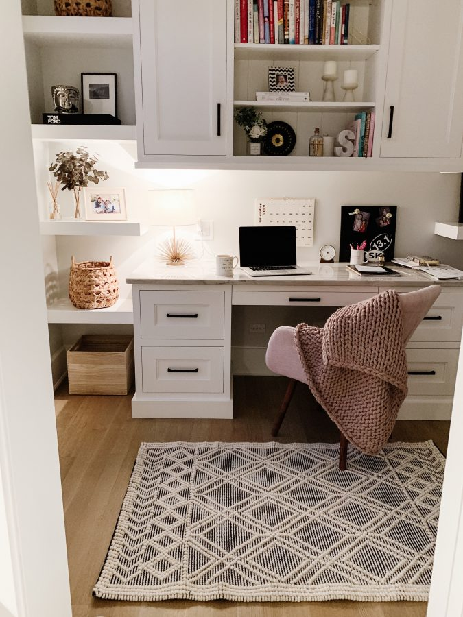 Home office finds: throw blanket, rug, chair